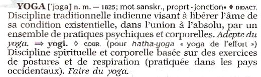 yoga dans le Petit Robert