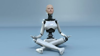 stock-footage-robot-android-woman-meditating-doing-yoga-beautiful-d-rendering-with-matte-for-easy-compositing