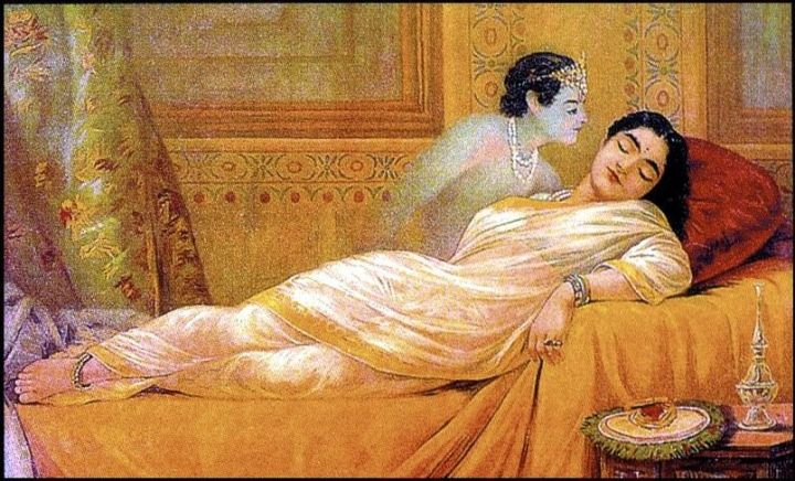 Raja_Ravi_Varma,_Usha's_Dream_(oleographic_print)